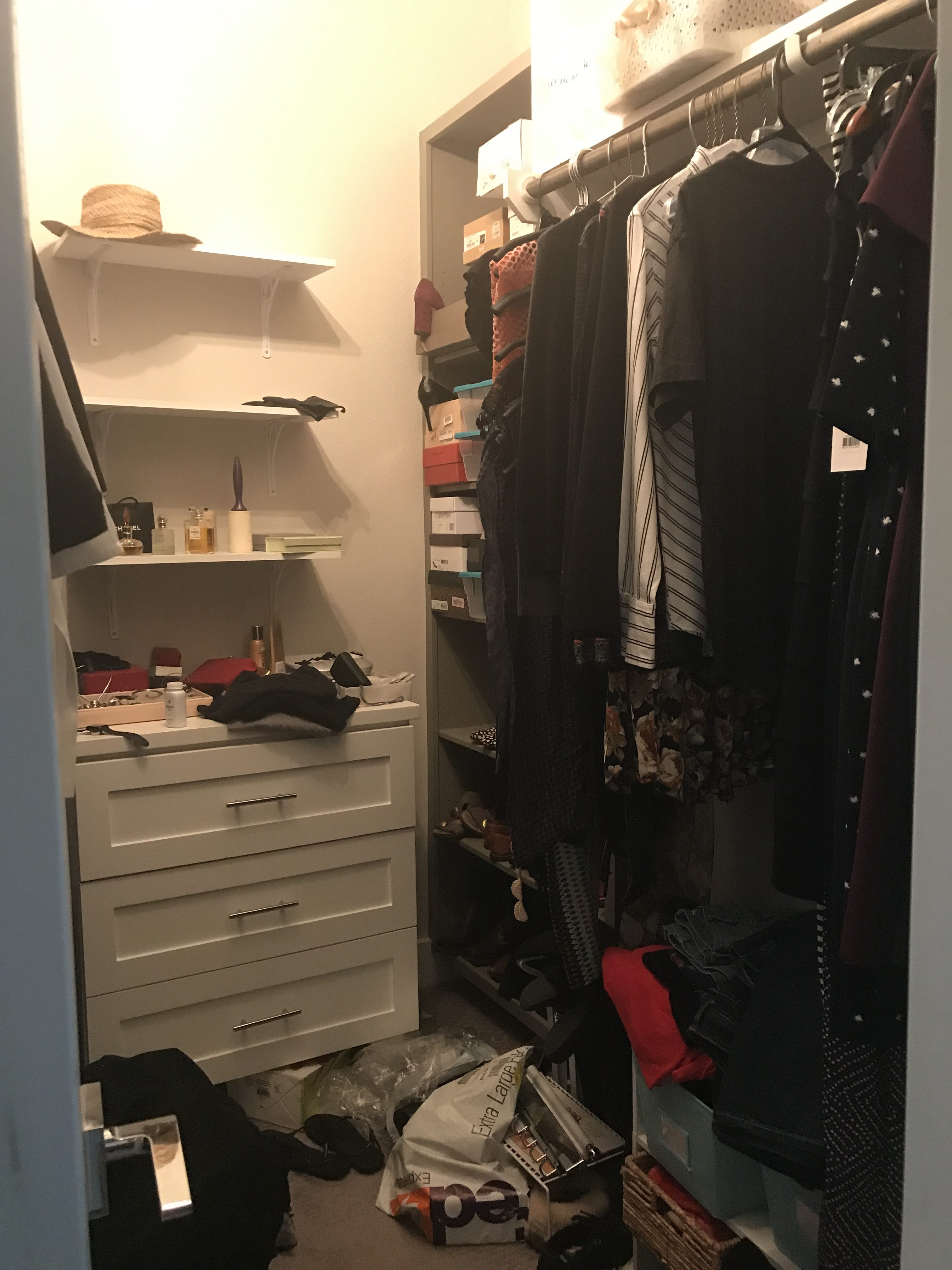 messy closet - pre tidying up